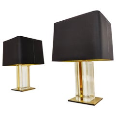 Pair of Vintage Brass and Lucite Table Lamps, 1970s