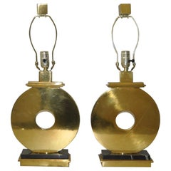Pair of Vintage Brass and Marble Table Lamps by Robert Abbey