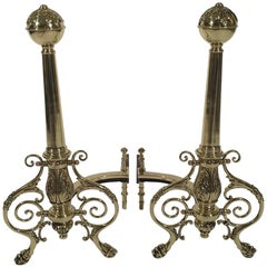 Pair of Vintage Brass Andirons Polished and Lacquered
