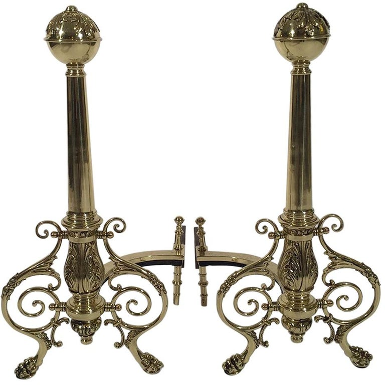 Pair of Vintage Brass Andirons Polished and Lacquered For Sale