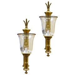 Pair of Vintage Brass Bamboo Sconces with Glass Hurricanes