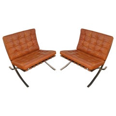 Pair of Vintage Brass Barcelona Chairs designed by Mies van der Rohe for Knoll
