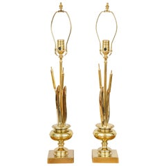 Pair of Vintage Brass Cattail Table Lamps