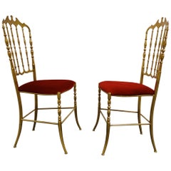 Pair of Vintage Brass Chiavari Chairs, 1960s