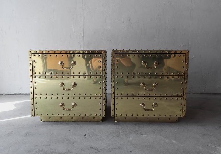 Hollywood Regency Pair of Vintage Brass Clad Nightstands by Sarreid