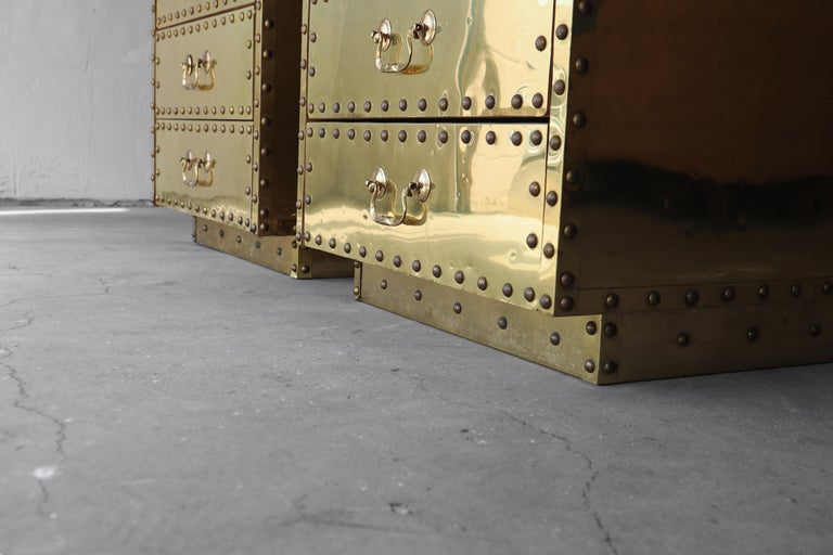 Pair of Vintage Brass Clad Nightstands by Sarreid 1
