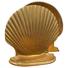 Pair of Vintage Brass Clam Shell Bookends