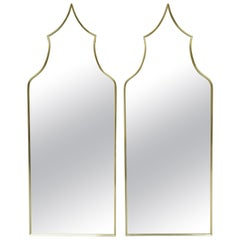 Pair of Vintage Brass Frame Arched Pagoda Keyhole Shaped Italian Wall Mirrors