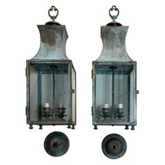 Pair of Vintage Brass Hanging Lantern