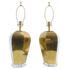 Pair of Vintage Brass Lamps with Lucite Bases by Remington Lamp