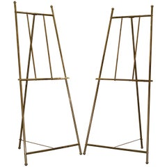 PAIR OF VINTAGE BRASS LARGE 203CM TALL FOLDING ARTIST EASELs PICTURE DISPLAY