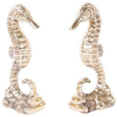 Pair of Vintage Brass Seahorse Bookends