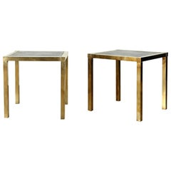 Pair of Vintage Brass Tables With Black Slate Tops