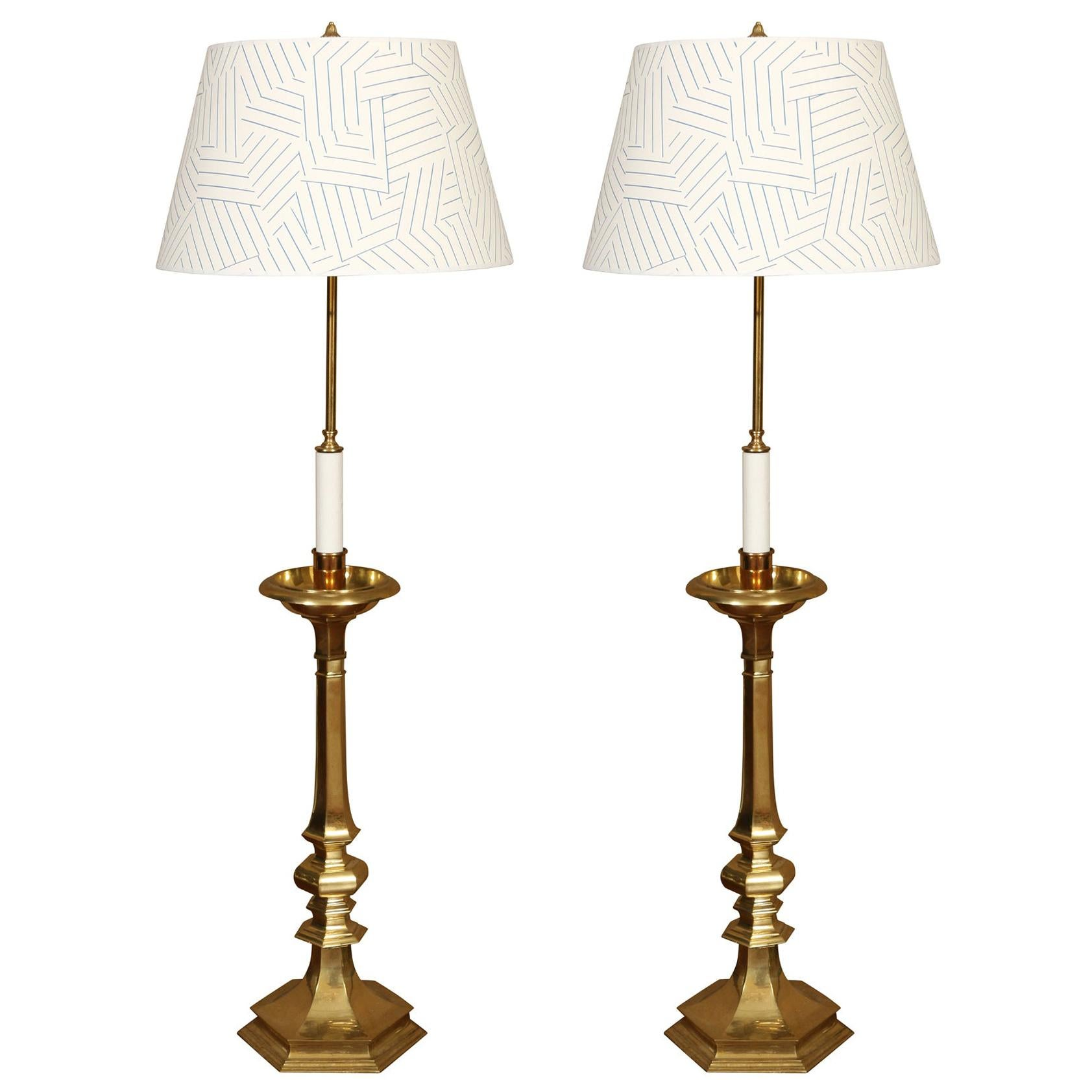Pair of Vintage Brass Tall Candlestick Lamps