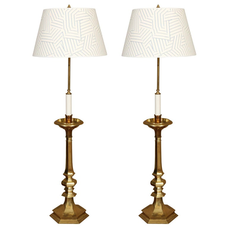 Pair of Vintage Brass Tall Candlestick Lamps For Sale