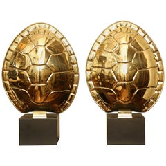 Pair of Vintage Brass Tortoise Shell Lamps by Chapman