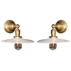 Pair of Vintage Brass Wall Lamps with Milk Glass Disk Shades