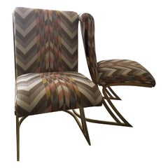 "Pair of Vintage Brass ""Z"" Game or Dining Chairs in New Modern Chevron Fabric"