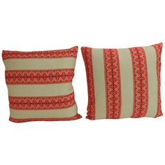 Pair of Vintage Bright Redish and Natural Woven Stripes Decorative Pillows