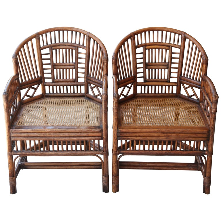 Pair of Vintage Brighton Bamboo Chairs For Sale