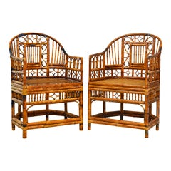Pair of Vintage Brighton Pavilion Style Chinoiserie Burnished Bamboo Armchairs