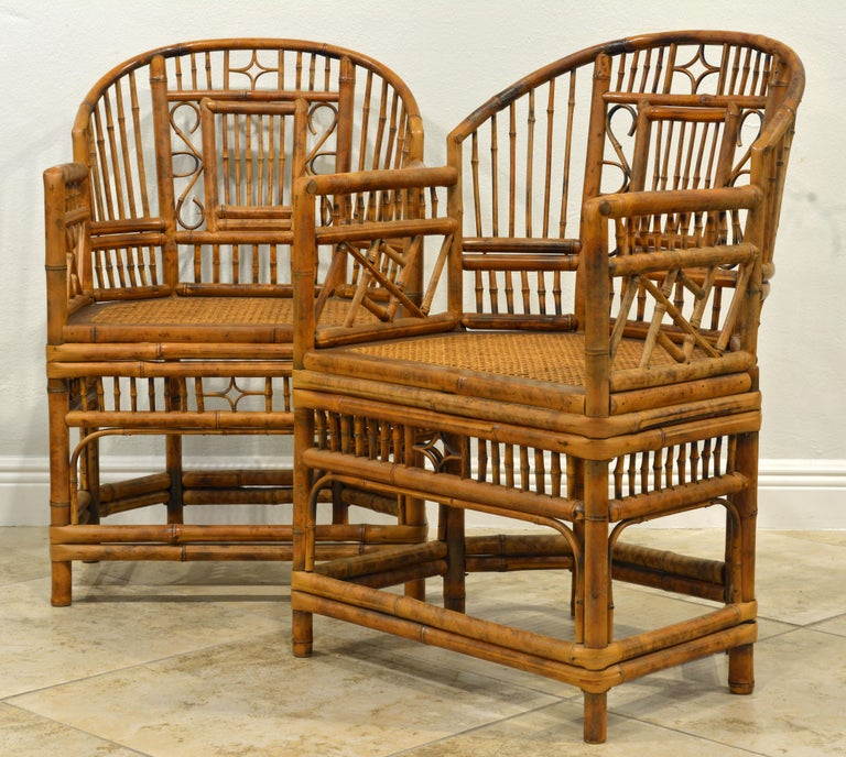 Chinese Chippendale Pair of Vintage Brighton Pavilion Style Chinoiserie Chippendale Bamboo Armchairs