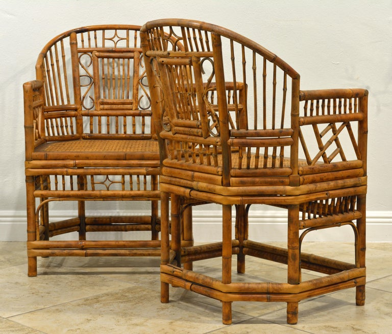 Chinese Pair of Vintage Brighton Pavilion Style Chinoiserie Chippendale Bamboo Armchairs