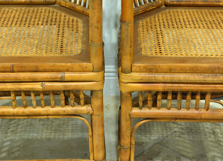 20th Century Pair of Vintage Brighton Pavilion Style Chinoiserie Chippendale Bamboo Armchairs