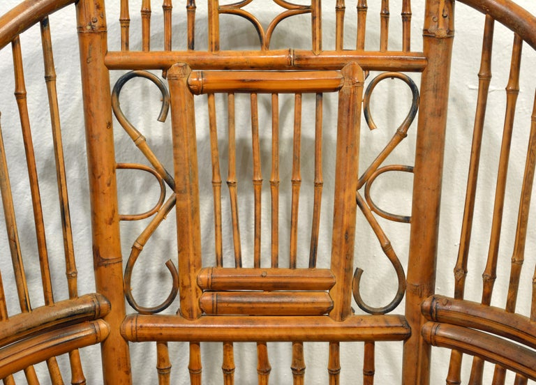 Pair of Vintage Brighton Pavilion Style Chinoiserie Chippendale Bamboo Armchairs 1