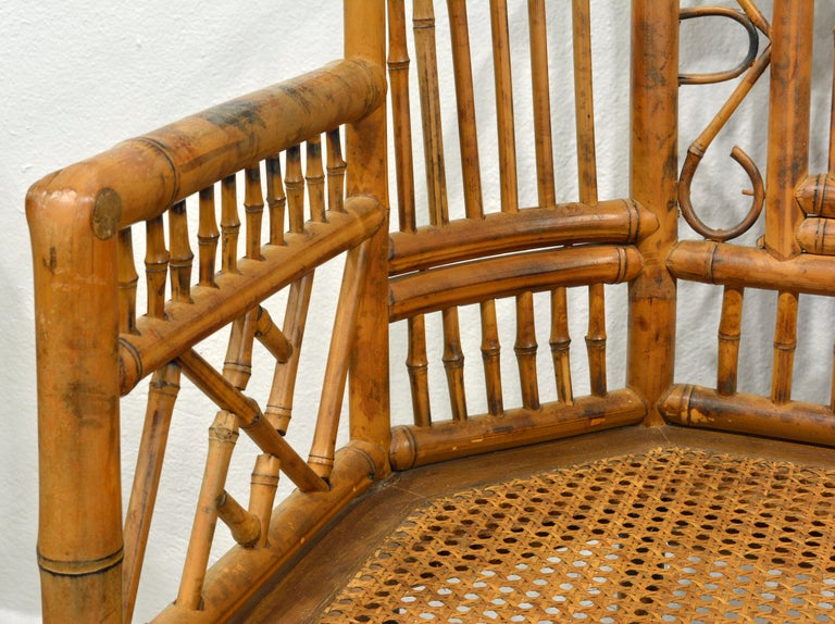 Pair of Vintage Brighton Pavilion Style Chinoiserie Chippendale Bamboo Armchairs 3