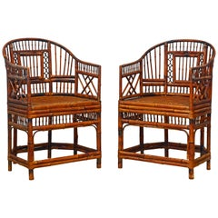 Pair of Vintage Brighton Pavilion Style Chinoiserie Chippendale Bamboo Armchairs