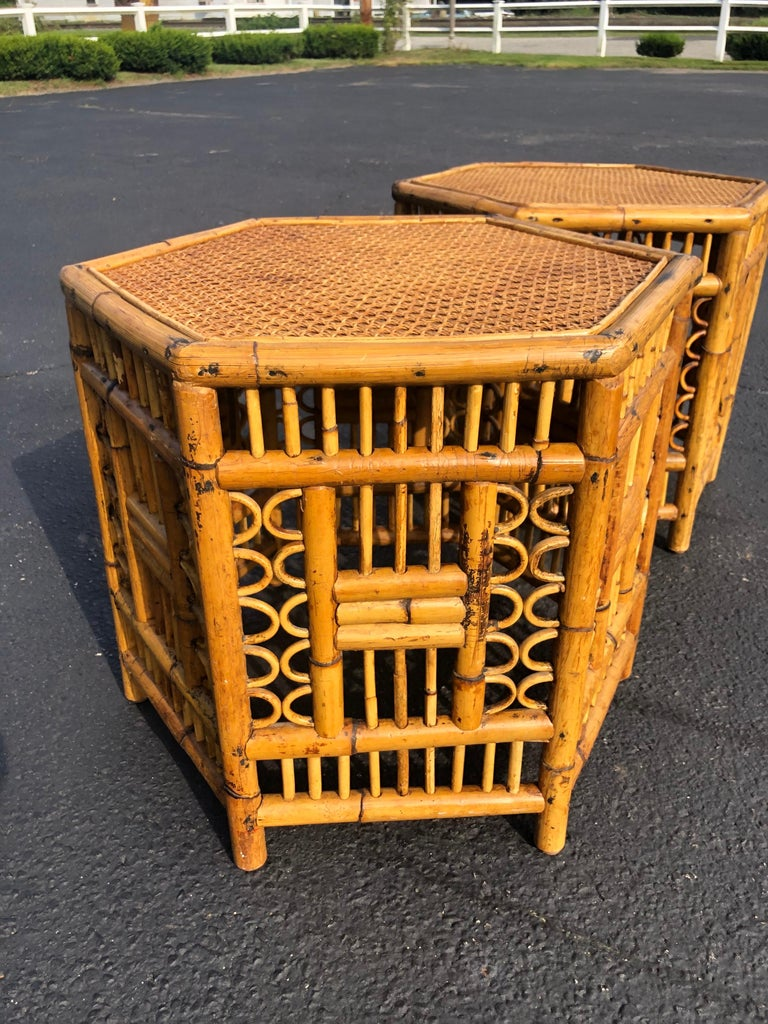 Pair of Vintage Brighton Style Bamboo Tables For Sale 3