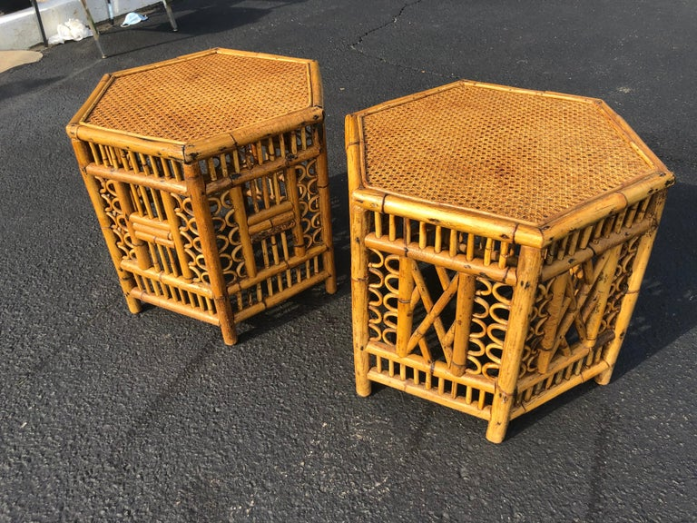 Pair of Vintage Brighton Style Bamboo Tables For Sale 4