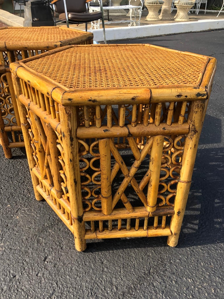 Pair of Vintage Brighton Style Bamboo Tables For Sale 5