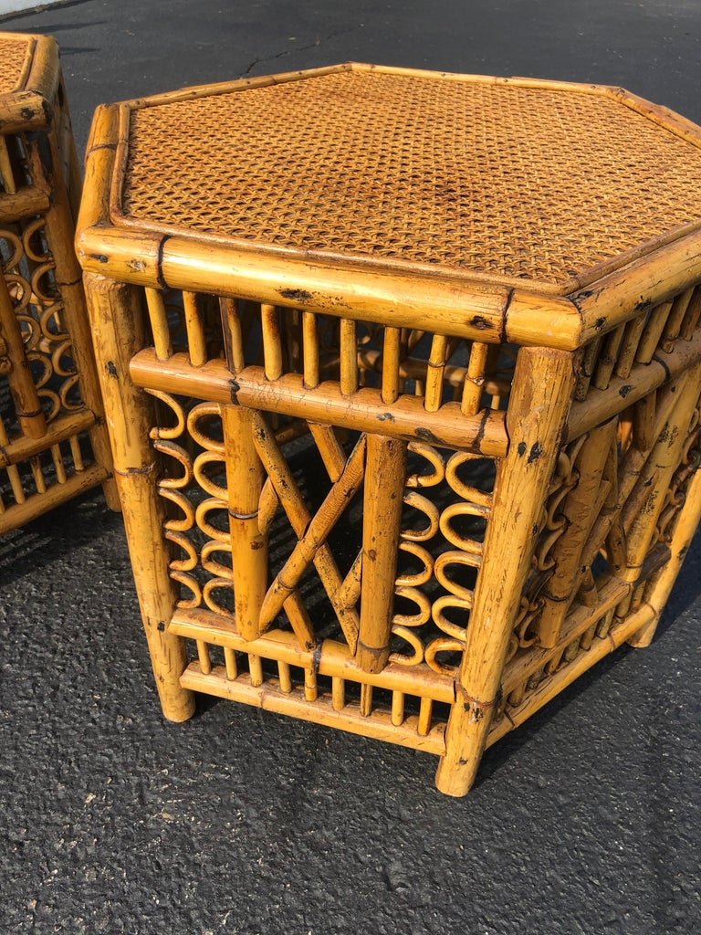 Pair of Vintage Brighton Style Bamboo Tables For Sale 6