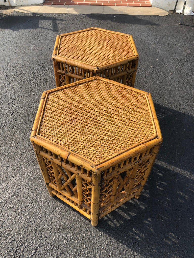 Pair of Vintage Brighton Style Bamboo Tables For Sale 8