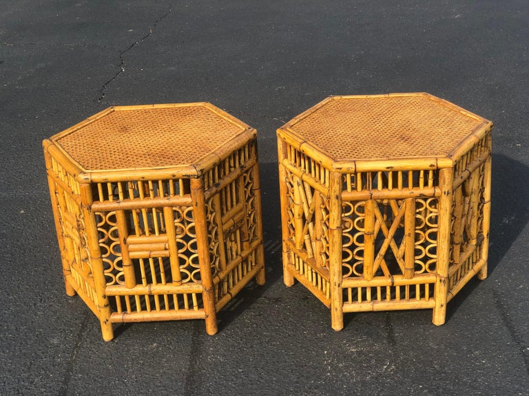 Pair of Vintage Brighton Style Bamboo Tables For Sale 11