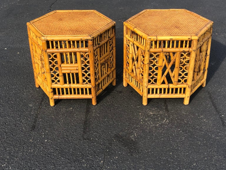 Bohemian Pair of Vintage Brighton Style Bamboo Tables For Sale