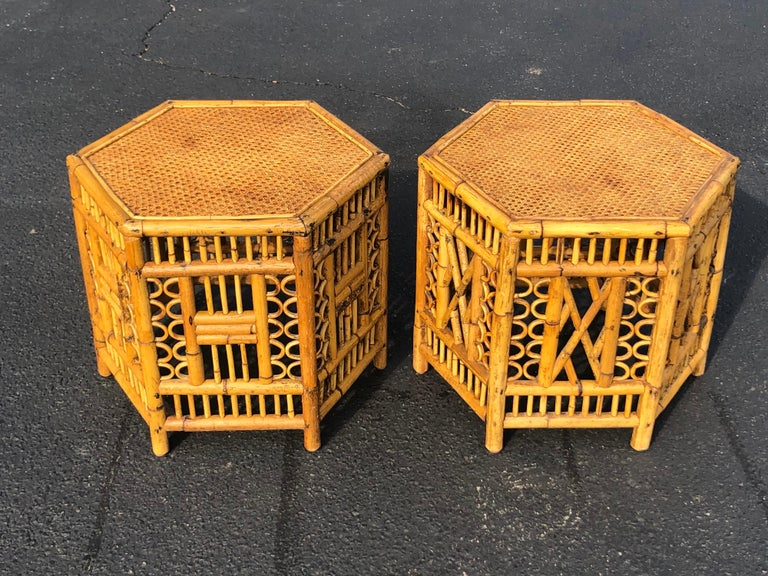 Philippine Pair of Vintage Brighton Style Bamboo Tables For Sale