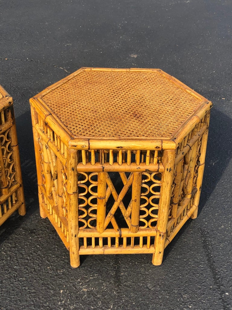 Hand-Crafted Pair of Vintage Brighton Style Bamboo Tables For Sale