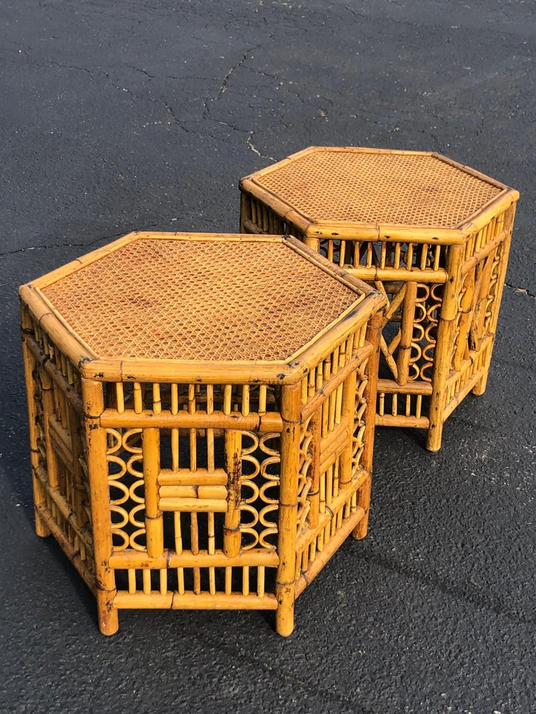 Late 20th Century Pair of Vintage Brighton Style Bamboo Tables For Sale