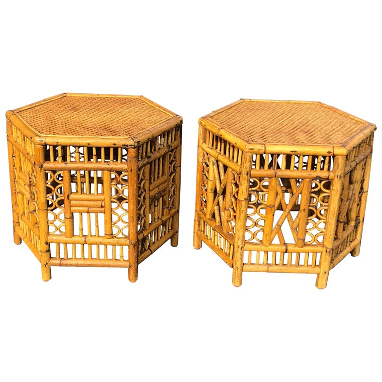 Pair of Vintage Brighton Style Bamboo Tables For Sale