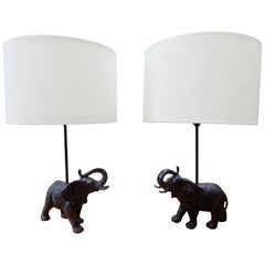 Pair of Vintage Bronze Black Patina Elephant Lamps