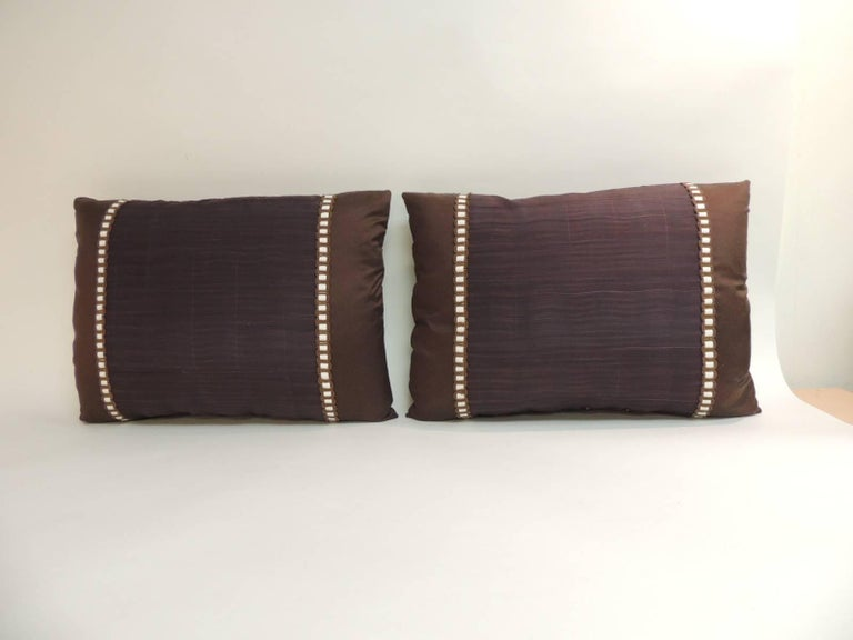 Pair Of Vintage Brown And Purple Woven Textile Bolster Decorative Pillows