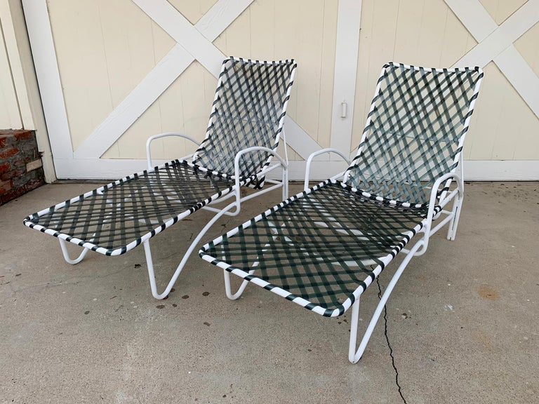 Pair of Vintage Brown Jordan Lido Chaise Lounges with Vinyl Straps For Sale 3