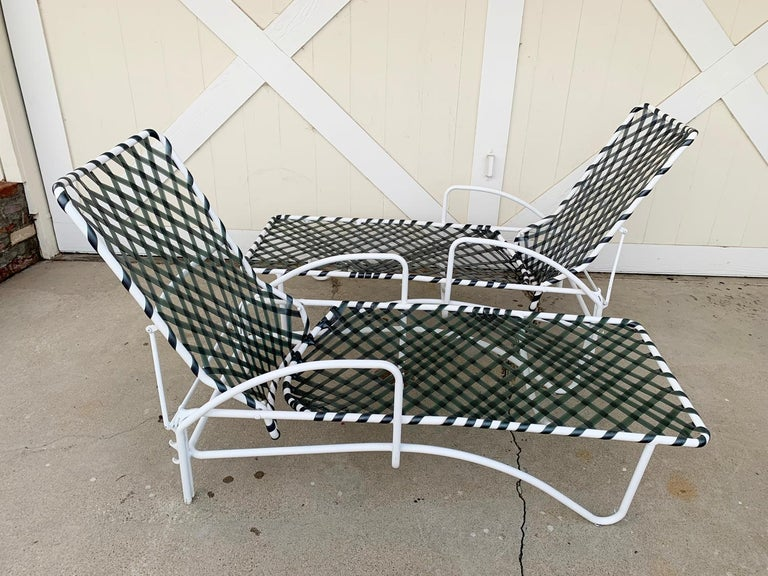 Pair of Vintage Brown Jordan Lido Chaise Lounges with Vinyl Straps For Sale 4