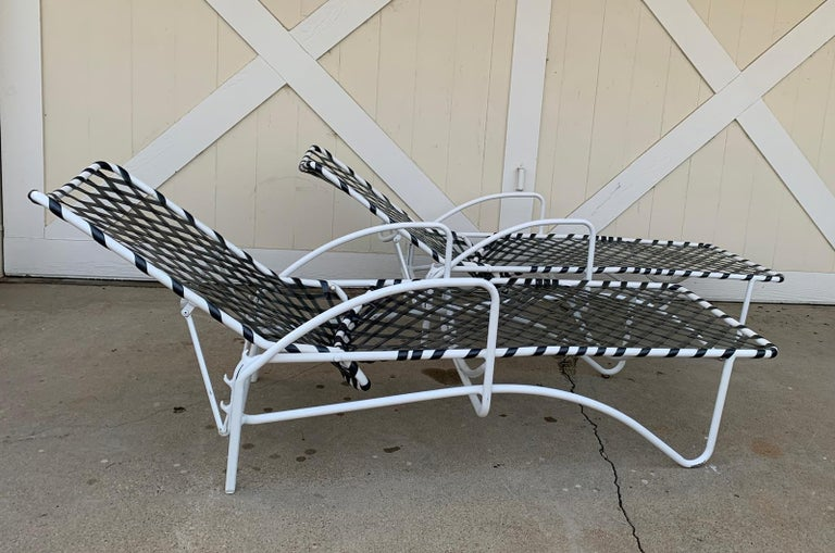 American Pair of Vintage Brown Jordan Lido Chaise Lounges with Vinyl Straps For Sale