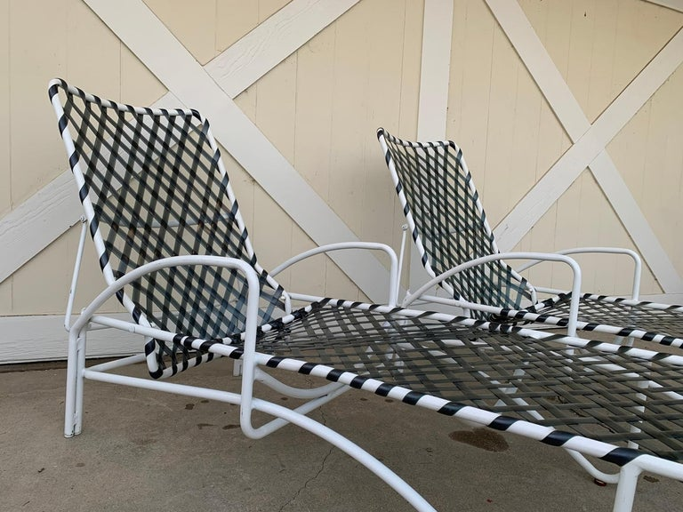 Late 20th Century Pair of Vintage Brown Jordan Lido Chaise Lounges with Vinyl Straps For Sale