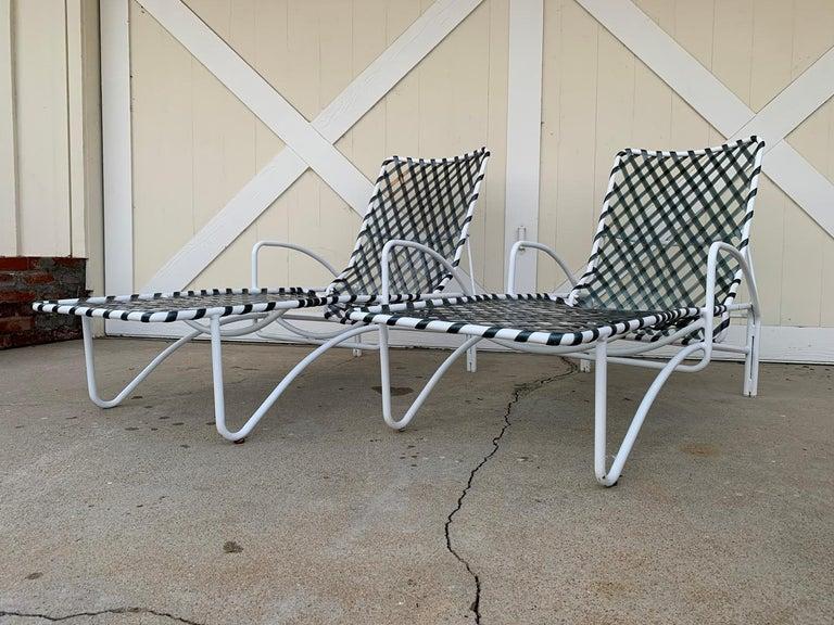 Aluminum Pair of Vintage Brown Jordan Lido Chaise Lounges with Vinyl Straps For Sale