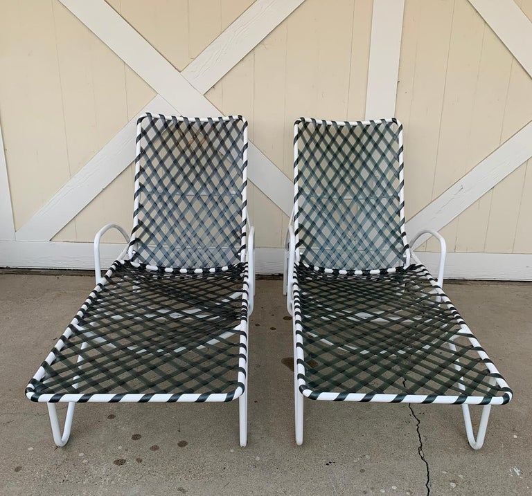 Pair of Vintage Brown Jordan Lido Chaise Lounges with Vinyl Straps For Sale 1